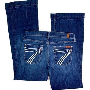 7FAM Dojo Flare Blue Dark Wash Jeans